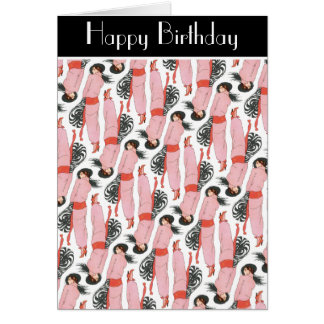 Coy Pink Over the Shoulder Look Happy Birthday Card