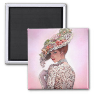 "Coy Victorian Lady ""Betty Lu"" 2 Inch Square Magnet"