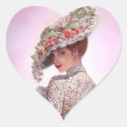 "Coy Victorian Lady ""Betty Lu"" Heart Sticker"