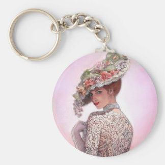 "Coy Victorian Lady ""Betty Lu"" Basic Round Button Keychain"