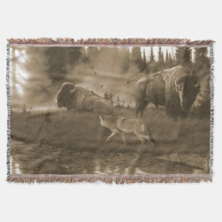 Coyote and Buffalo Throw Blanket