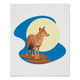coyote and full moon design poster