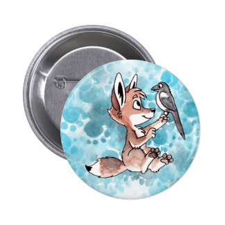 Coyote and Magpie Button