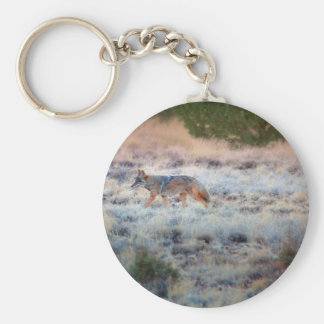 Coyote at dusk basic round button keychain