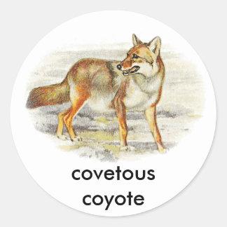 coyote codicioso pegatina redonda