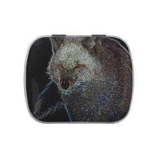 Coyote de neón jarrones de caramelos