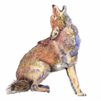 Coyote del grito de la acuarela, animal, fauna de  fotoescultura vertical