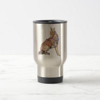 Coyote del grito de la acuarela, animal, fauna de taza de viaje de acero inoxidable