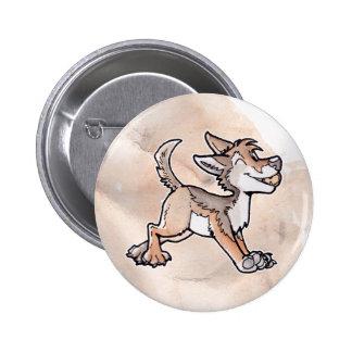 Coyote del oro del tonto pin redondo de 2 pulgadas