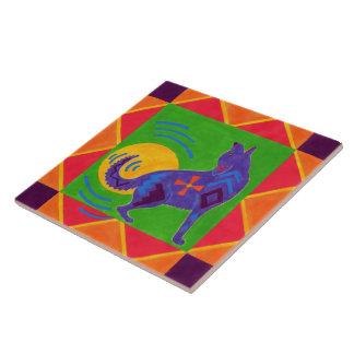 Coyote Drummer Ceramic Tile