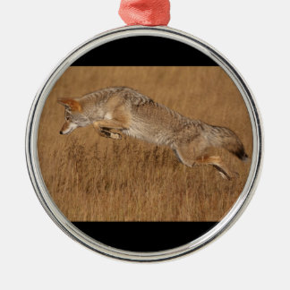 Coyote Flying Metal Ornament