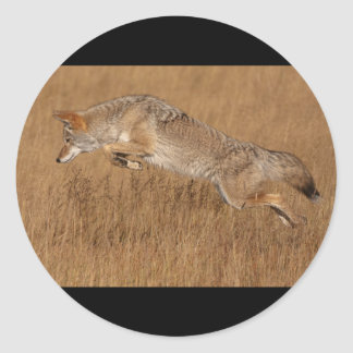 Coyote Flying Round Sticker