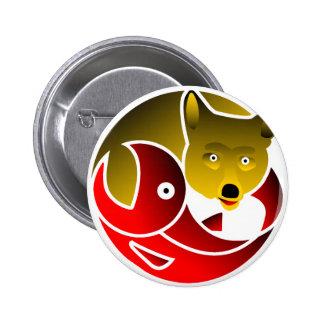 Coyote Frees Salmon Button