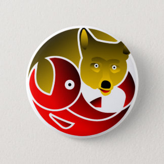 Coyote Frees Salmon Pinback Button