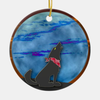 COYOTE HOWLING AT BLUE MOON ORNAMENT