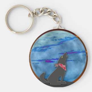 Coyote Howling at the Blue Moon Basic Round Button Keychain