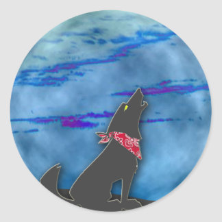 Coyote Howling at the Blue Moon Classic Round Sticker