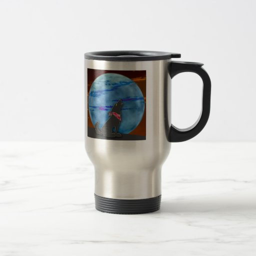 Coyote Howling at the Blue Moon 15 Oz Stainless Steel Travel Mug