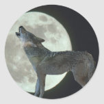Coyote Howling at the Moon Round Sticker