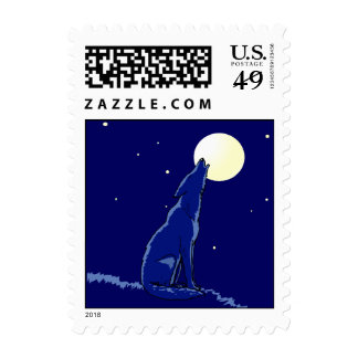 Coyote Howling in Full Moon Blue Nite Stamps Stamp