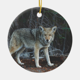 Coyote Hunting Ceramic Ornament