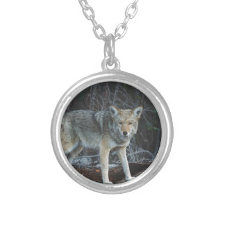 Coyote Hunting Round Pendant Necklace