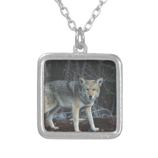 Coyote Hunting Square Pendant Necklace