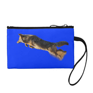 coyote jumping and flying coin purse