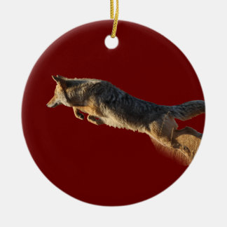 coyote jumping ceramic ornament