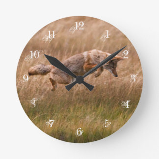 Coyote Leaping - Gibbon Meadows Round Clock