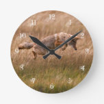 Coyote Leaping - Gibbon Meadows Round Wallclock