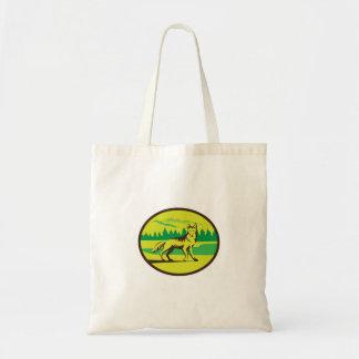 Coyote Mountain Landscape Oval Retro Tote Bag