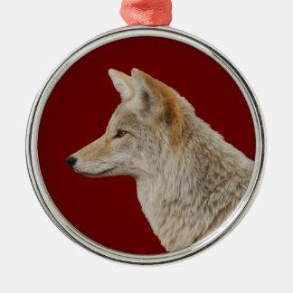 coyote profile metal ornament