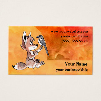 Coyote Pup Business Card - Fiery Orange