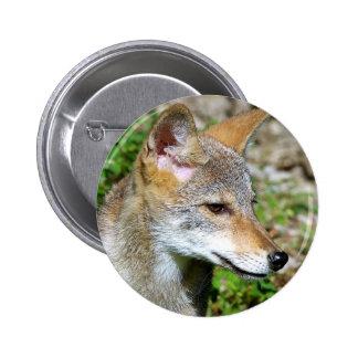 Coyote Pup Profile 2 Inch Round Button