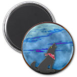 Coyote que grita en la luna azul imán