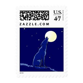 Coyote que grita en sello azul de los sellos de
