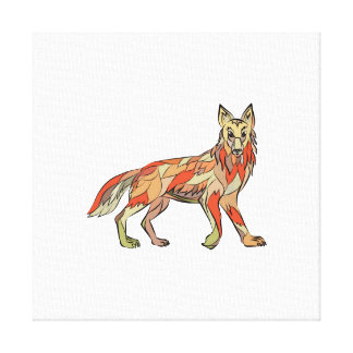 Coyote Side Isolated Drawing Canvas Print