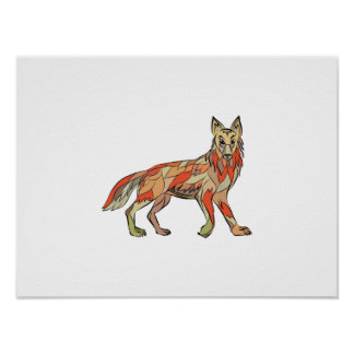 Coyote Side Isolated Drawing Poster