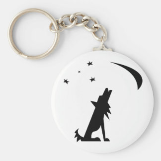 Coyote Silhouette Basic Round Button Keychain