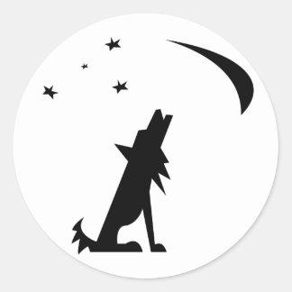 Coyote Silhouette Round Sticker