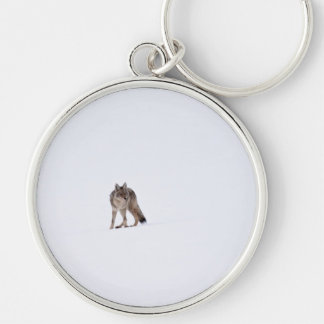Coyote Silver-Colored Round Keychain