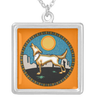 Coyote under Full Moon Square Pendant Necklace