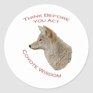 Coyote Wisdom Classic Round Sticker