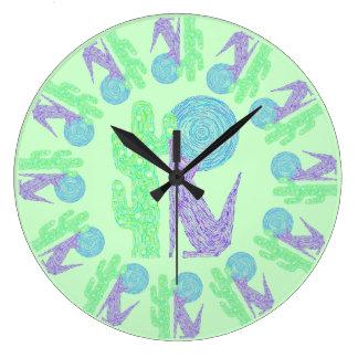 Coyote Wolf Colorful Southwestern Art Design Clock