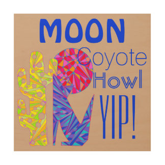 Coyote Wolf Colorful Southwestern Design Desert Wood Print