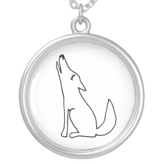 Coyote wolf dog howling - fun ink line drawing art round pendant necklace