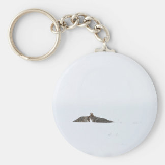 Coyotes Basic Round Button Keychain