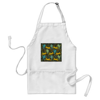 Coyotes with Cacti on Black with Organic Shapes Adult Apron