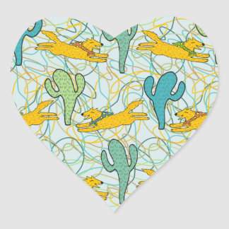 Coyotes with Cacti on Teal with Organic Shapes Heart Sticker